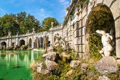 Fontana di Eolo på Royal Palace av Caserta royaltyfria bilder