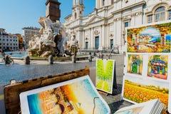 Fontana di Nettuno in piazza Navona, Roma Immagine Stock Libera da Diritti