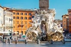 Fontana di Nettuno in piazza Navona, Roma, Italia Immagini Stock Libere da Diritti