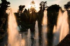 Fontana di Nettuno sul tramonto al tivoli Immagini Stock Libere da Diritti