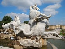 Fontana di Nettuno a Vienna Fotografie Stock Libere da Diritti