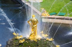 Fontana di Samson di grande cascata Fotografia Stock