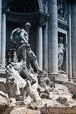Fontana di Trevi. Detail of the Fontana di Trevi in Rome showing it's statues and decorated facade, Italy, built by Barberini royalty free stock photo