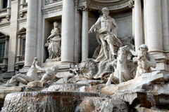 Fontana di Trevi, Roma. Famous artistic sculptures of Trevi's Fountain in Rome (Italy Royalty Free Stock Photo