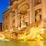 The Fontana di Trevi in Rome illuminated at night. The famous Fontana di Trevi in Rome illuminated at night royalty free stock image