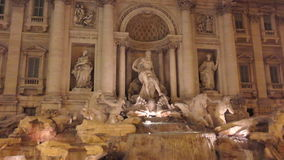 Fontana di Trevi in Rome. Fontana di Trevi night scene in Rome stock footage