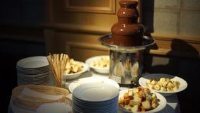 Fontana e frutta del cioccolato video d archivio
