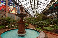 Fontana e giardini botanici Fotografia Stock
