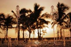 Fontana-e-tramonto Immagini Stock Libere da Diritti