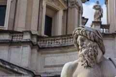 Fontana espressiva di Fiumi del fronte della barba della statua, Roma Italia Immagini Stock Libere da Diritti