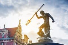 Fontana famosa di Nettuno a Danzica Immagine Stock Libera da Diritti