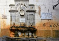 Fontana Garibaldi Pizzo, Fountain drinking water in the old city royalty free stock photography