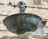 Fontana Grande in Piazza IV Novembre, het detail van Perugia Stock Fotografie