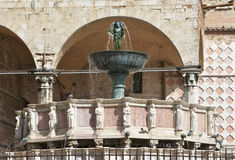 Fontana Grande in Piazza IV Novembre, Perugia. Beautiful gothic fountain in the medieval centre of Perugia Royalty Free Stock Photos