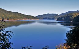 Fontana Lake. Is a reservoir nestled in between the Great Smoky Mountains and the Blue Ridge Mountains of Western North Carolina Royalty Free Stock Photo