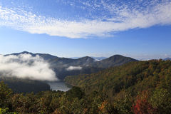 Fontana Lake with Misty Fog Stock Images