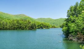 Fontana Lake in North Carolina. Fontana Lake is a reservoir nestled in between the Great Smoky Mountains and the Blue Ridge Mountains of Western North Carolina stock photo