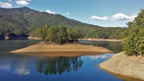 Fontana Lake. Is a reservoir nestled in between the Great Smoky Mountains and the Blue Ridge Mountains of Western North Carolina stock image