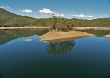 Fontana Lake. Is a reservoir nestled in between the Great Smoky Mountains and the Blue Ridge Mountains of Western North Carolina royalty free stock images