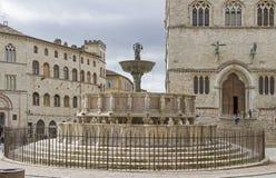 Fontana Maggiore in Perugia Stock Photos