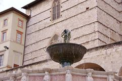 The Fontana maggiore in Perugia in Tuscany in  Italy Stock Images
