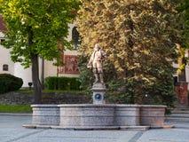 Fontana medievale con la statua di Vratislav z Pernstejna, repubblica Ceca fotografia stock libera da diritti