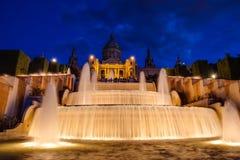 Fontana nazionale di Barcellona del palazzo Fotografie Stock