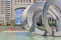 Fontana nel centro di Nursultan fotografia stock