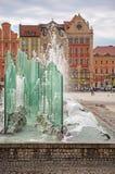 Fontana nel centro di Wroclaw, Polonia Fotografia Stock Libera da Diritti