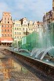 Fontana nel centro di Wroclaw, Polonia Fotografie Stock
