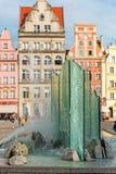 Fontana nel centro di Wroclaw, Polonia Fotografie Stock Libere da Diritti
