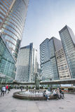 Fontana nell'alta vista del quarto di aumento in Hong Kong centrale Immagini Stock