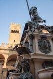 Fontana Nettuno and Torre Scappi, Bologna Italy. stock photos