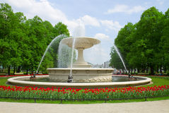 Fontana in parco, Varsavia, Polonia Fotografie Stock