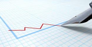 Fontana Pen Drawing Declining Graph Fotografia Stock Libera da Diritti