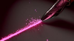 Fontana Pen Drawing Hearts Line Fotografia Stock Libera da Diritti