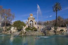 Fontana precipitante a cascata nel parco Ciutadella Fotografie Stock Libere da Diritti
