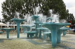 Fontana sul quadrato di Kosciuszko a Gdynia poland Immagini Stock Libere da Diritti