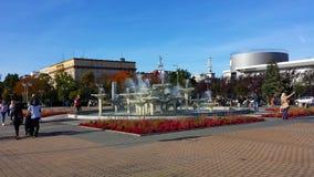 Fontana sul quadrato di Kosciuszko a Gdynia, Polonia Immagine Stock