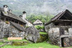 Traditional rural village of Fontana on the Swiss alps Royalty Free Stock Photos