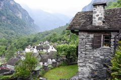 Traditional rural village of Fontana on the Swiss alps Stock Photos