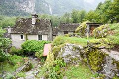 Traditional rural village of Fontana on the Swiss alps Stock Images