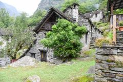 Traditional rural village of Fontana on the Swiss alps Stock Photo