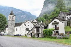 Traditional rural village of Fontana on the Swiss alps Royalty Free Stock Image