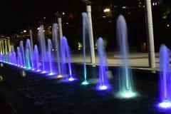 Fontana variopinta in Dalat, Vietnam alla notte Fotografie Stock