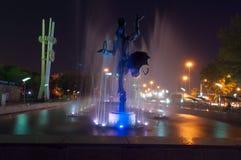 Fontana vicino al circo a Almaty Immagine Stock Libera da Diritti