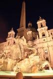 Fontanadei Quatro Fiumi, (Fontein van de vier Rivieren), Piazza Navona (Navona-Vierkant) Rome Stock Fotografie