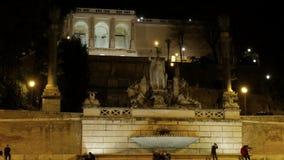 Fontanadella Dea di Roma Piazza del Popolo, ROM stock videobeelden