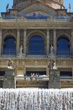 Fontane della cascata al museo di arte della Catalogna Fotografie Stock Libere da Diritti