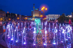 Fontane di Kiev su Maidan Nezalezhnosti Immagine Stock Libera da Diritti